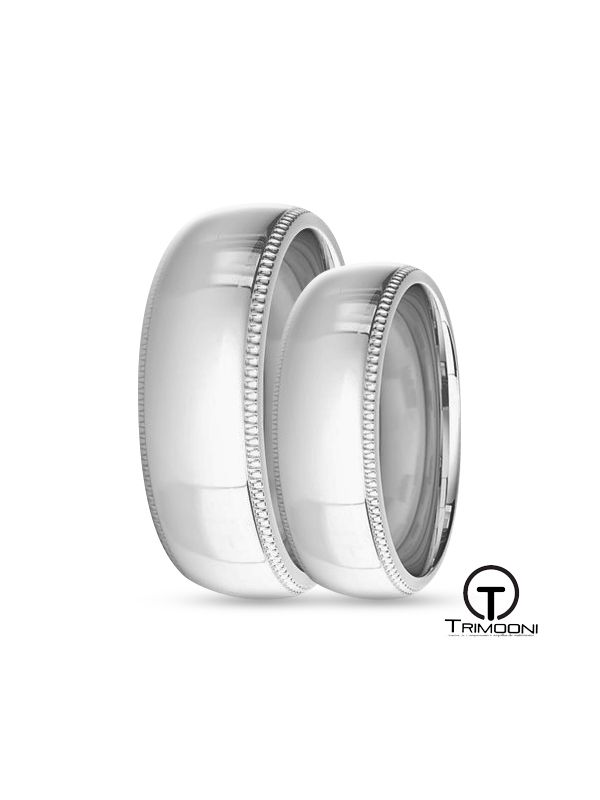 SAMOB008-  Set (pareja) de Argollas Matrimonio Oro Blanco Trimooni 6mm