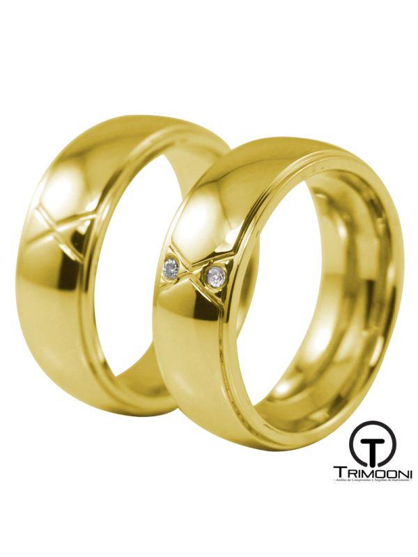 Anaik_OAS-  Set (pareja) de Argollas Matrimonio Oro Amarillo Trimooni