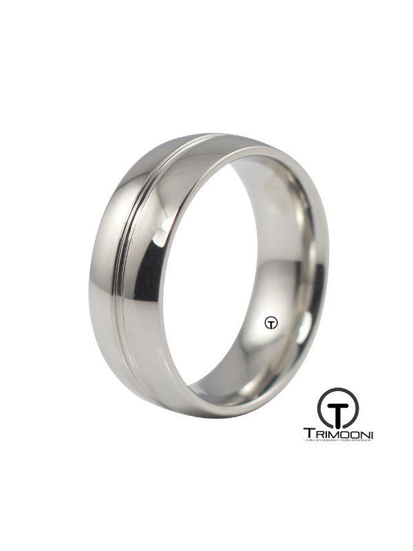 AMOB015H-  Argolla Matrimonio Oro Blanco Trimooni