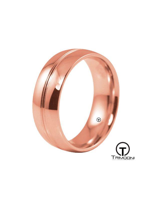 AMOR015H-  Argolla Matrimonio Oro Rosado Trimooni