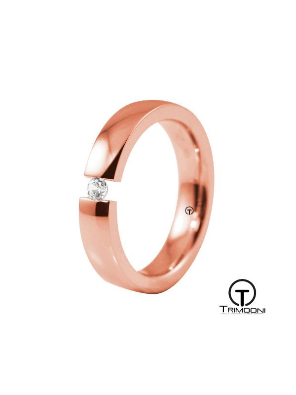 AMOR015M-  Argolla Matrimonio Oro Rosado Trimooni