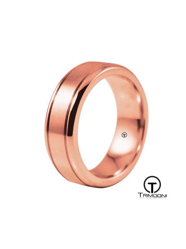 AMOR016H-  Argolla Matrimonio Oro Rosado Trimooni
