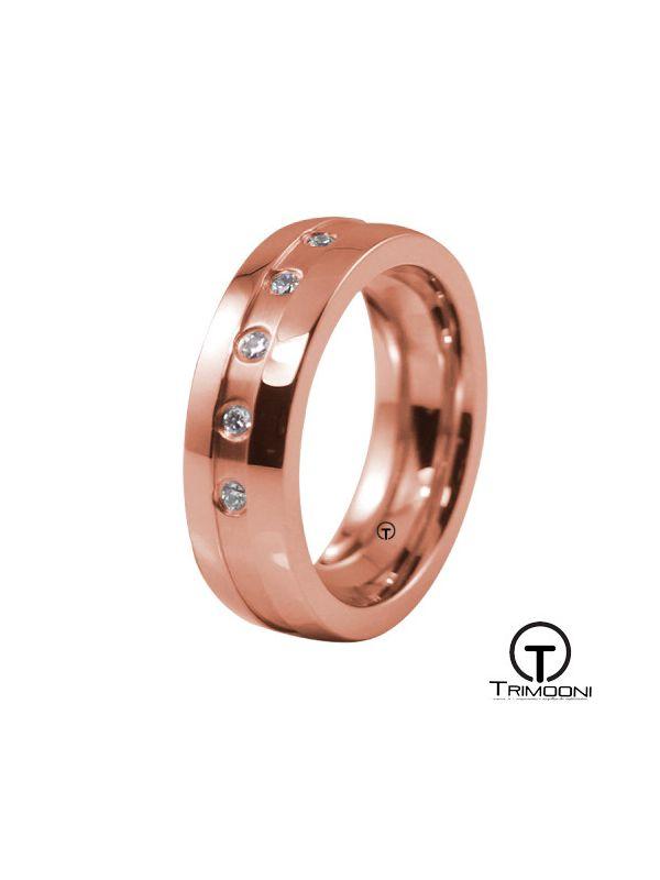 AMOR026M-  Argolla Matrimonio Oro Rosado Trimooni