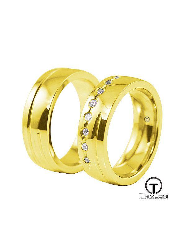 Ara_OAS-  Set (pareja) de Argollas Matrimonio Oro Amarillo Trimooni