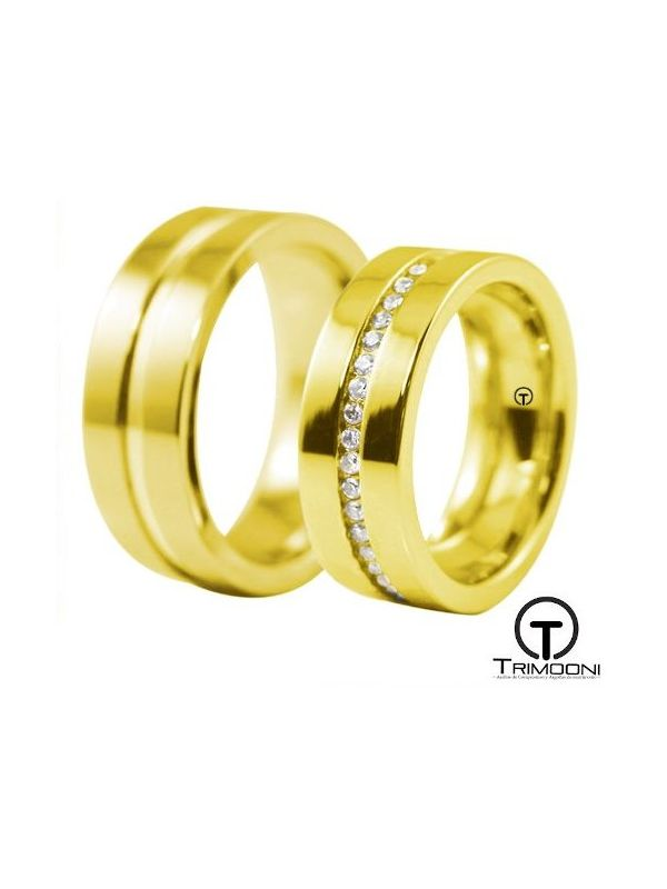 Aster_OAS-  Set (pareja) de Argollas Matrimonio Oro Amarillo Trimooni