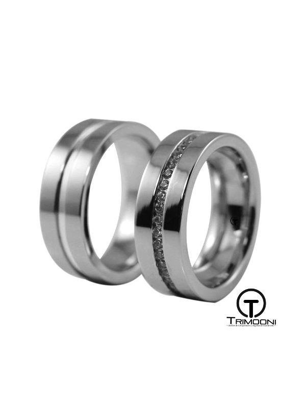 Aster_PTS-  Set (pareja) de Argollas Matrimonio Platino Trimooni