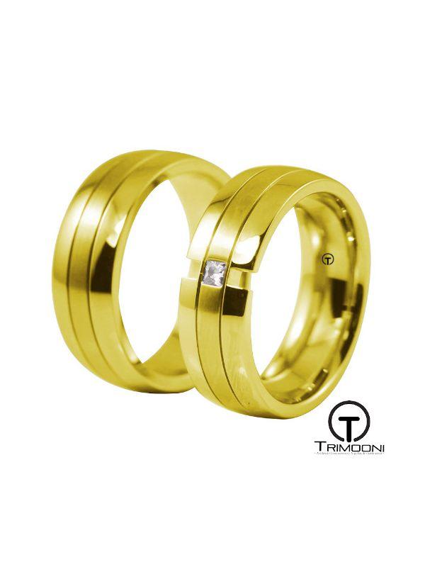Caeli_OAS-  Set (pareja) de Argollas Matrimonio Oro Amarillo Trimooni