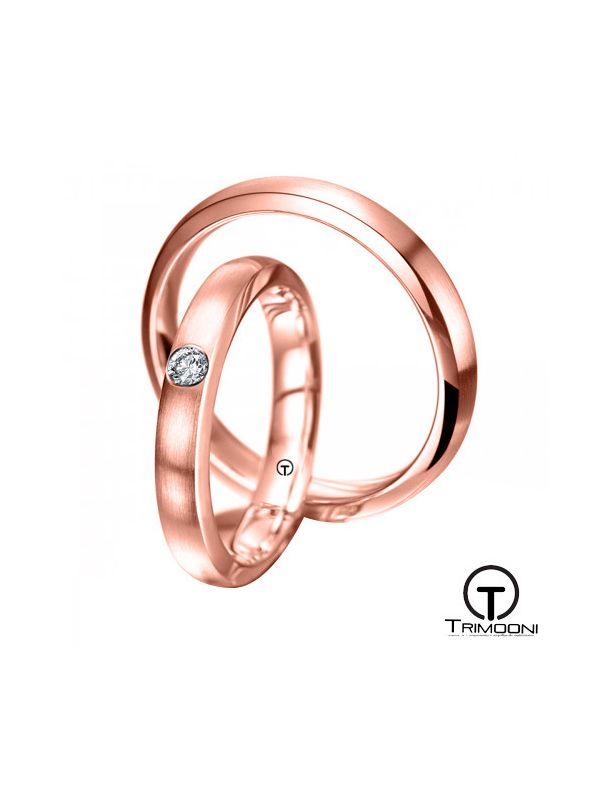 Crescente_ORS-  Set (pareja) de Argollas Matrimonio Oro Rosado Trimooni