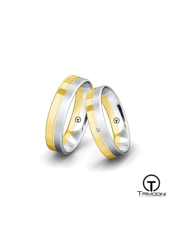 Doaddi_SDO-  Set (pareja) de Argollas Matrimonio Dos Oros Trimooni 4 y 5mm >Más Info...