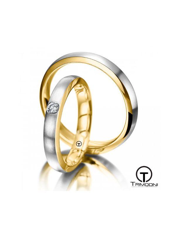 Duecente_SDO-  Set (pareja) de Argollas Matrimonio Dos Oros Trimooni 2,5 y 3,5mm >Más Info...