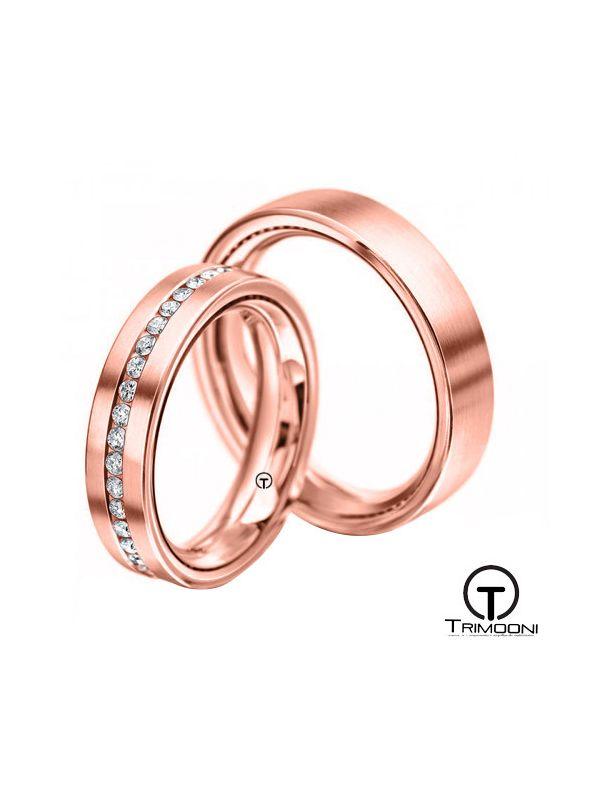 Lacio_ORS-  Set (pareja) de Argollas Matrimonio Oro Rosado Trimooni