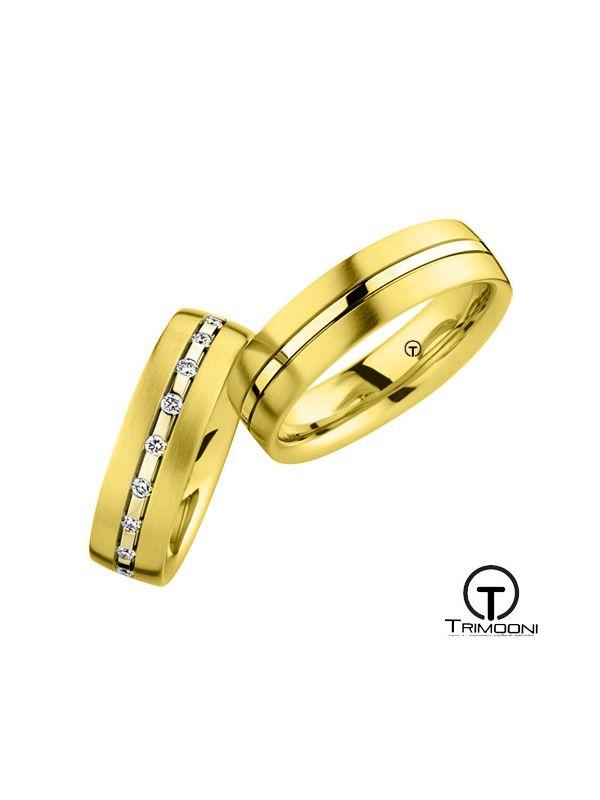 Lineare_OAS-  Set (pareja) de Argollas Matrimonio Oro Amarillo Trimooni