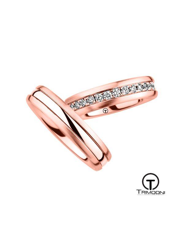 Lumino_ORS-  Set (pareja) de Argollas Matrimonio Oro Rosado Trimooni