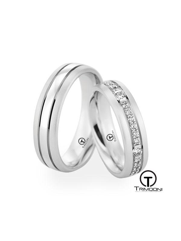 Minata_OBS-  Set (pareja) de Argollas Matrimonio Oro Blanco Trimooni