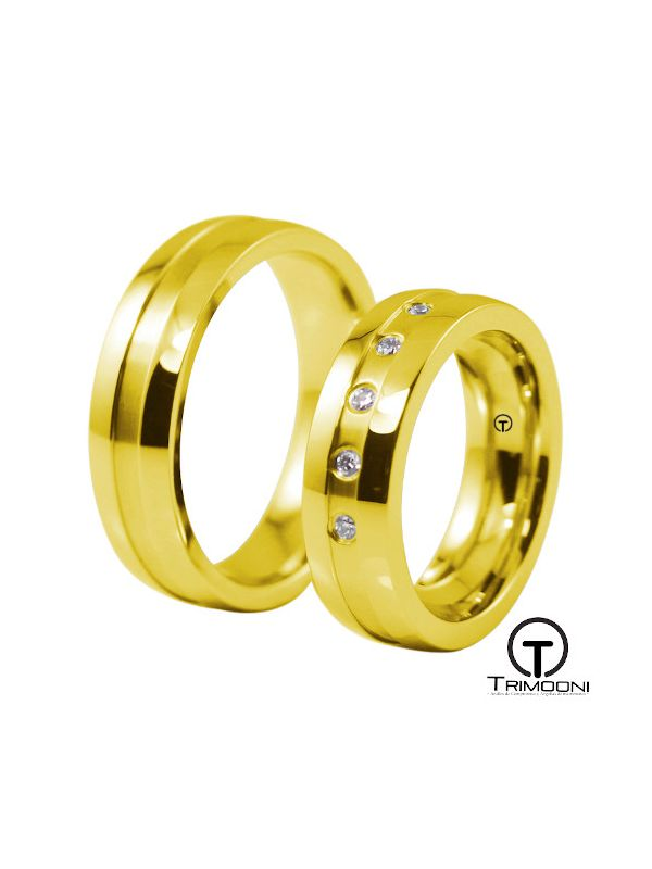 Orbit_OAS-  Set (pareja) de Argollas Matrimonio Oro Amarillo Trimooni
