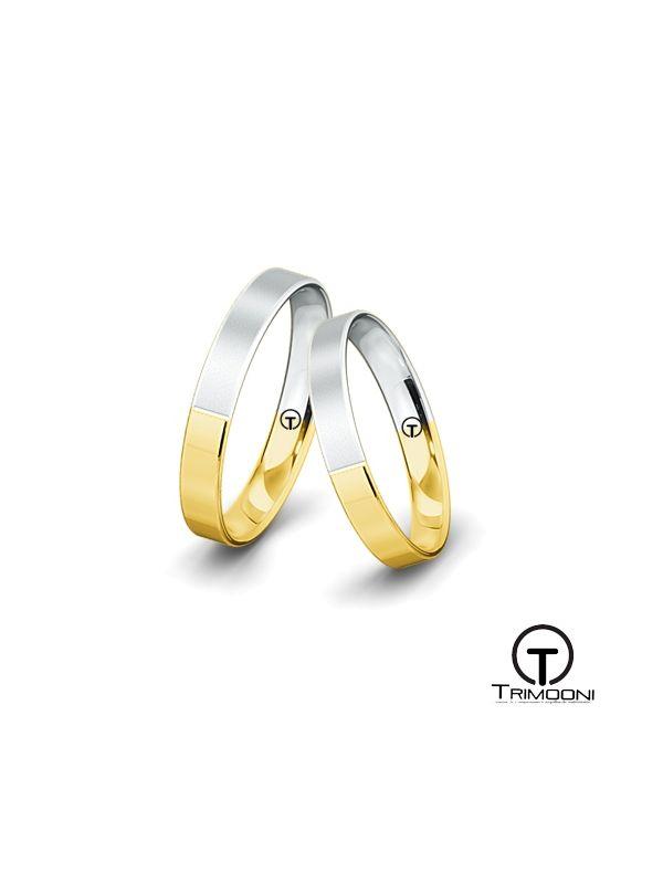Pieno35_SDO-  Set (pareja) de Argollas Matrimonio Dos Oros Trimooni 3mm >Más Info...