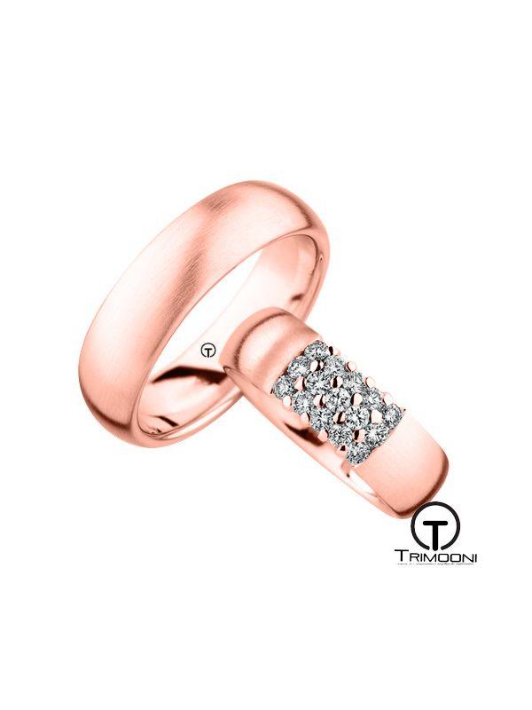 Quindici_ORS-  Set (pareja) de Argollas Matrimonio Oro Rosado Trimooni