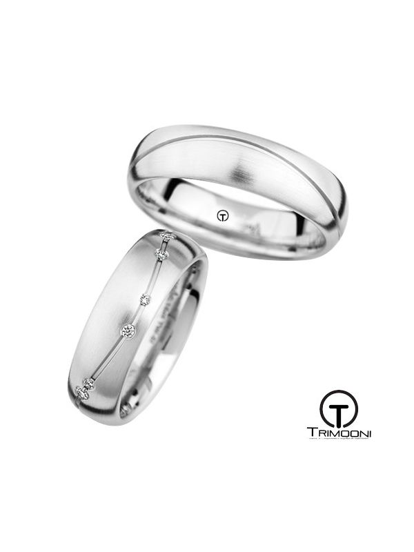 Rocce_OBS-  Set (pareja) de Argollas Matrimonio Oro Blanco Trimooni