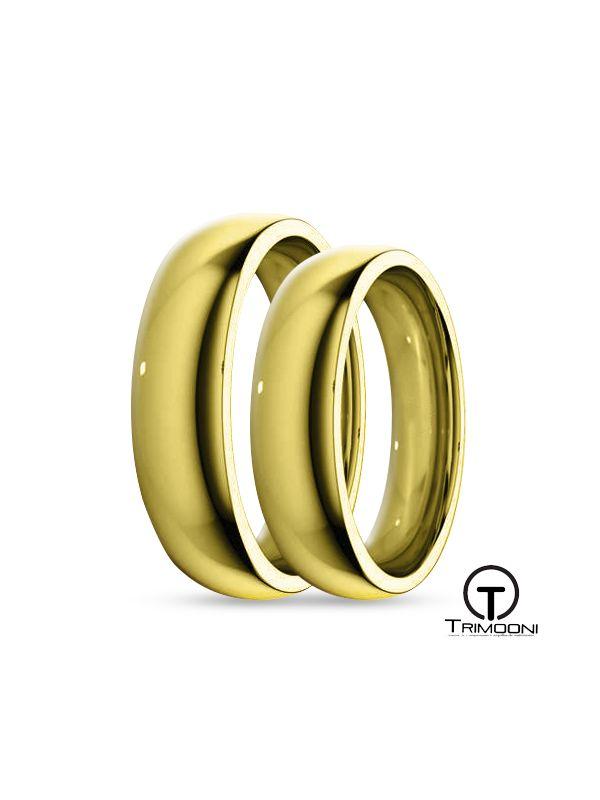 SAMOA004-  Set (pareja) de Argollas Matrimonio Oro Amarillo Trimooni 4mm