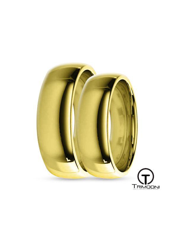SAMOA006-  Set (pareja) de Argollas Matrimonio Oro Amarillo Trimooni 6mm