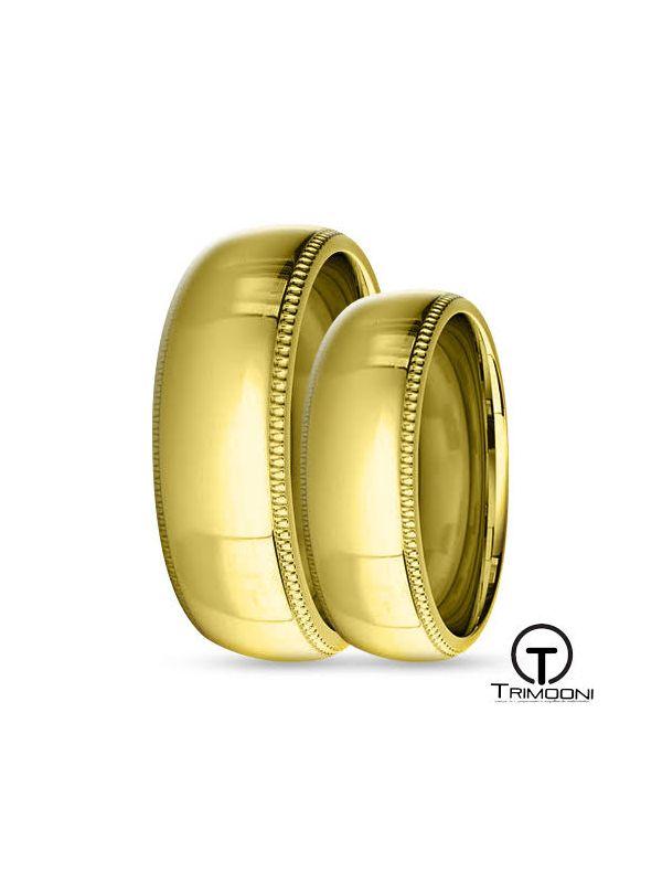SAMOA008-  Set (pareja) de Argollas Matrimonio Oro Amarillo Trimooni 6mm