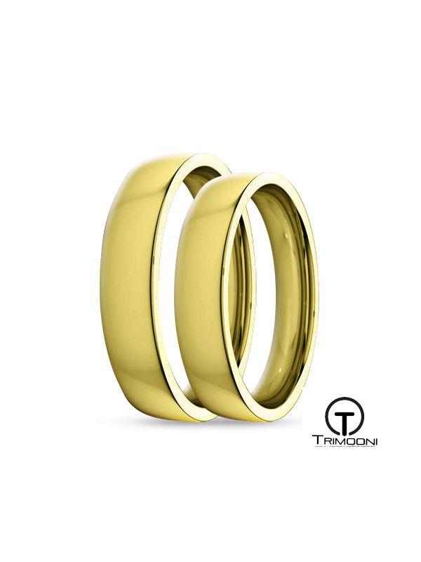 SAMOA010-  Set (pareja) de Argollas Matrimonio Oro Amarillo Trimooni 4mm +Info...