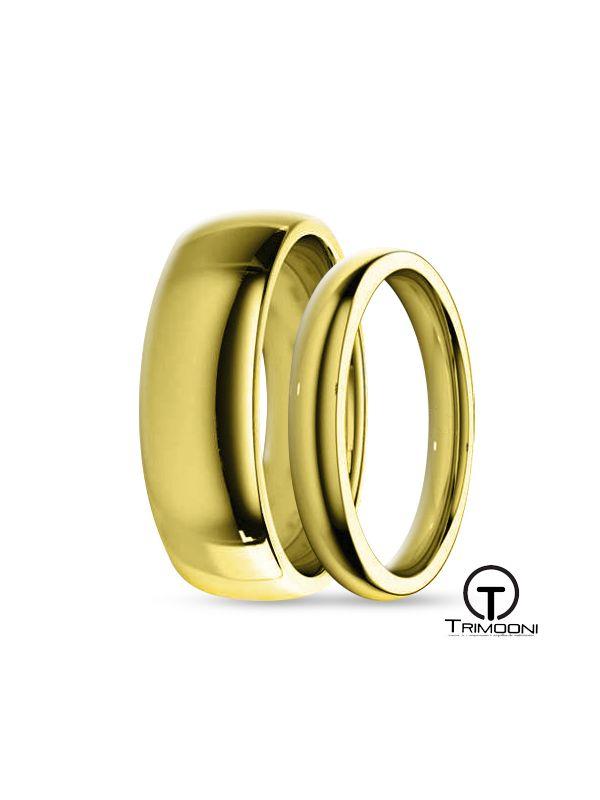 SAMOA035-  Set (pareja) de Argollas Matrimonio Oro Amarillo Trimooni 3 y 5mm