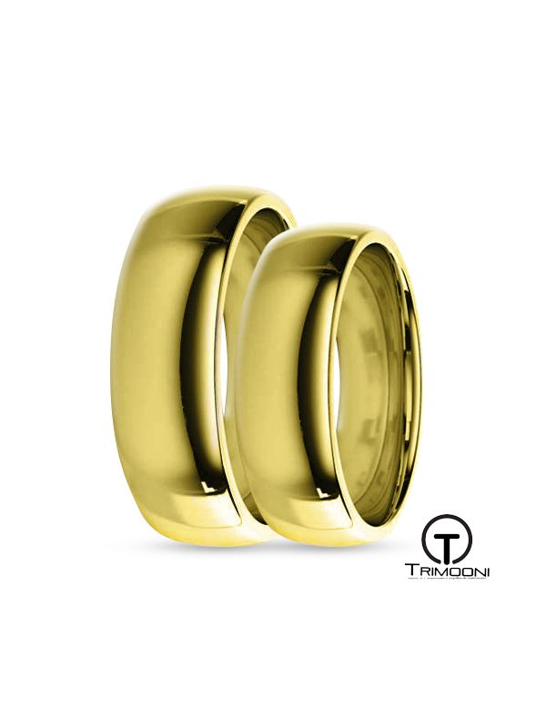 SAMOA056-  Set (pareja) de Argollas Matrimonio Oro Amarillo Trimooni 5 y 6mm +Info...