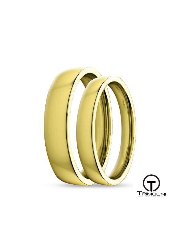 SAMOA134-  Set (pareja) de Argollas Matrimonio Oro Amarillo Trimooni 3 y 4mm +Info...