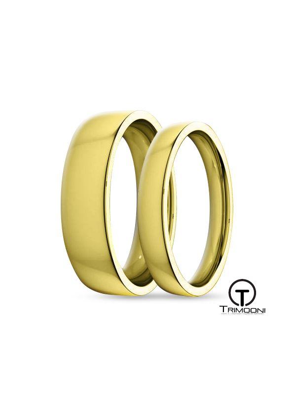 SAMOA135-  Set (pareja) de Argollas Matrimonio Oro Amarillo Trimooni 3 y 5mm