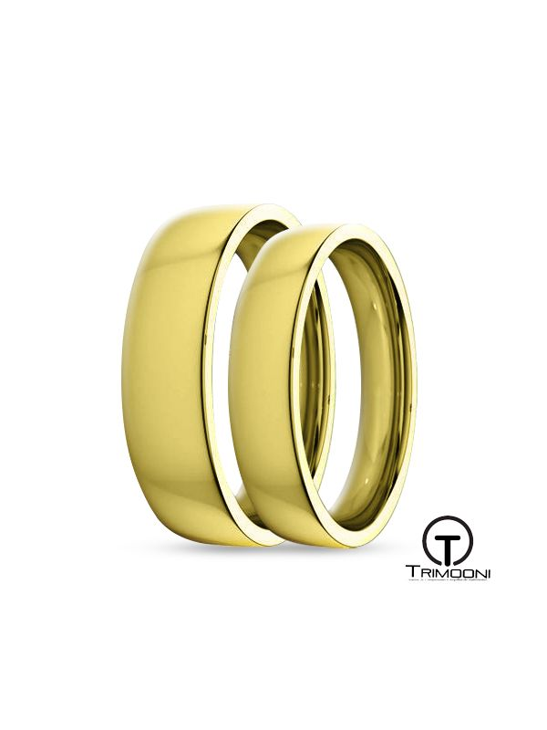 SAMOA145-  Set (pareja) de Argollas Matrimonio Oro Amarillo Trimooni 4 y 5mm +Info...