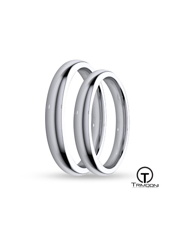 SAMOB003-  Set (pareja) de Argollas Matrimonio Oro Blanco Trimooni 3mm +Info...