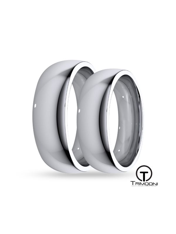 SAMOB006-  Set (pareja) de Argollas Matrimonio Oro Blanco Trimooni 6mm +Info...