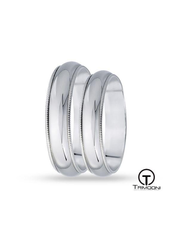 SAMOB007-  Set (pareja) de Argollas Matrimonio Oro Blanco Trimooni 5mm +Info...