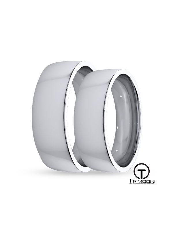 SAMOB012-  Set (pareja) de Argollas Matrimonio Oro Blanco Trimooni 6mm +Info...