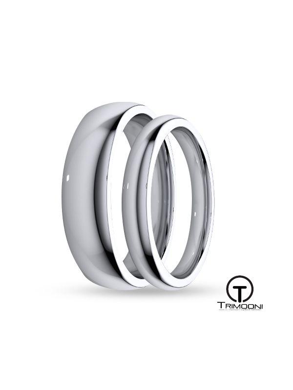 SAMOB034-  Set (pareja) de Argollas Matrimonio Oro Blanco Trimooni 3 y 4mm +Info...