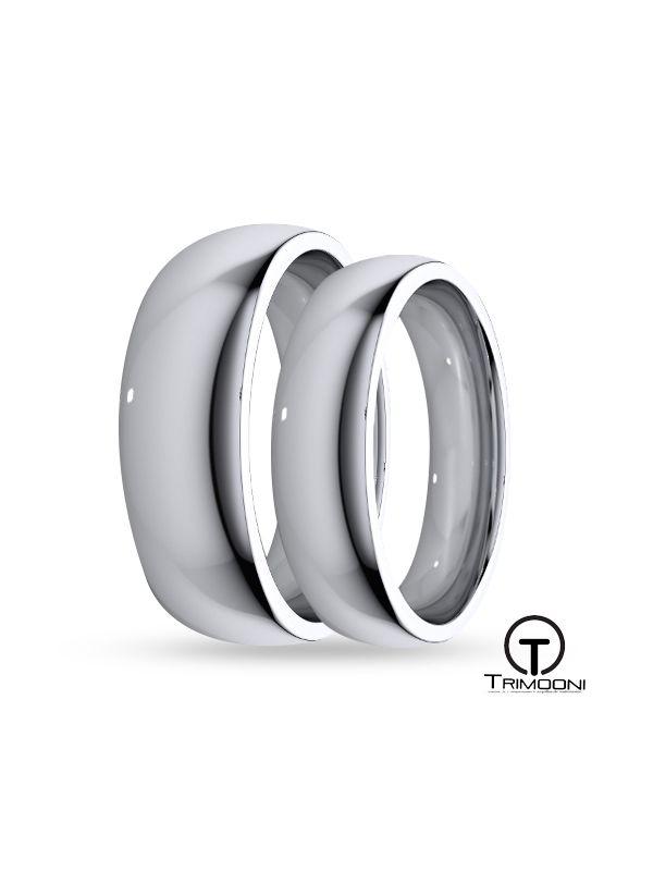 SAMOB045-  Set (pareja) de Argollas Matrimonio Oro Blanco Trimooni 4 y 5mm +Info...