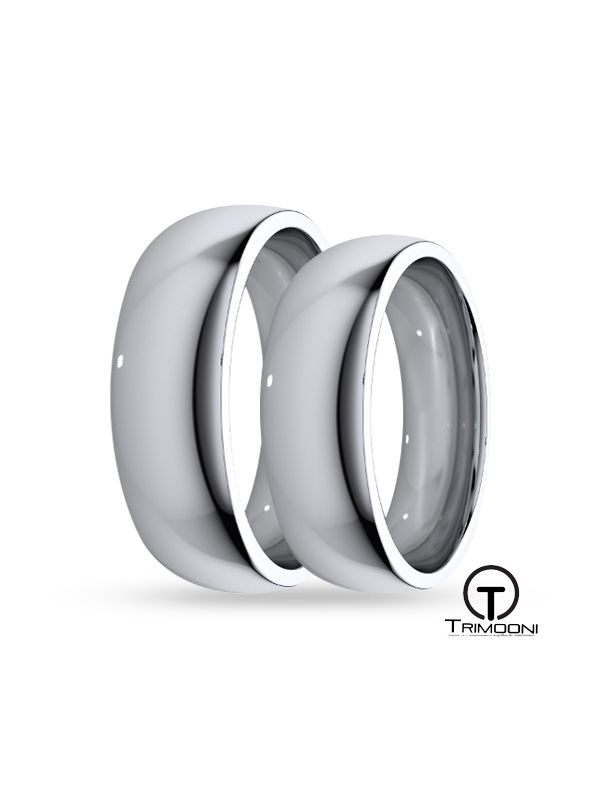 SAMOB056-  Set (pareja) de Argollas Matrimonio Oro Blanco Trimooni 5 y 6mm +Info...