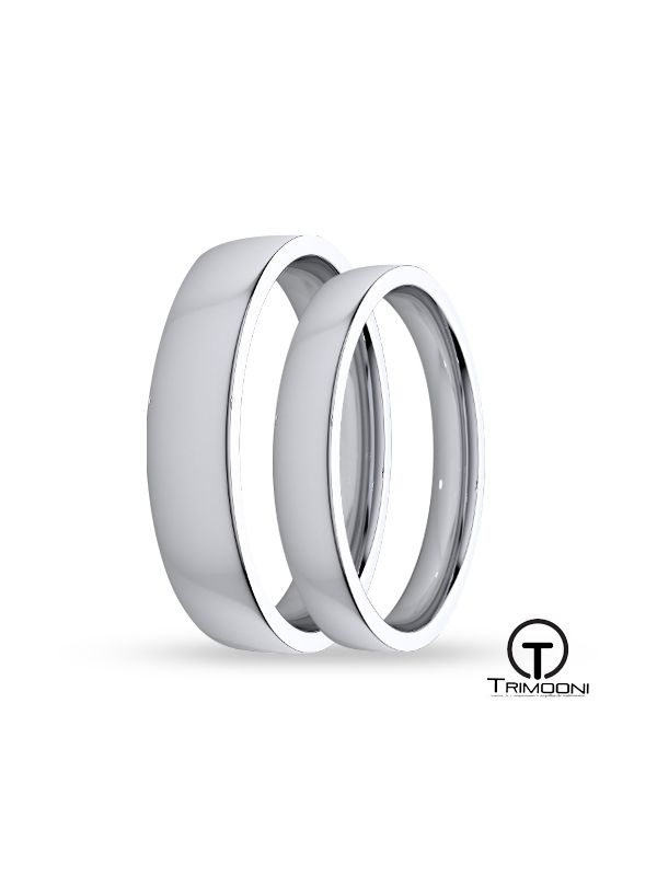 SAMOB134-  Set (pareja) de Argollas Matrimonio Oro Blanco Trimooni 3 y 4mm +Info...