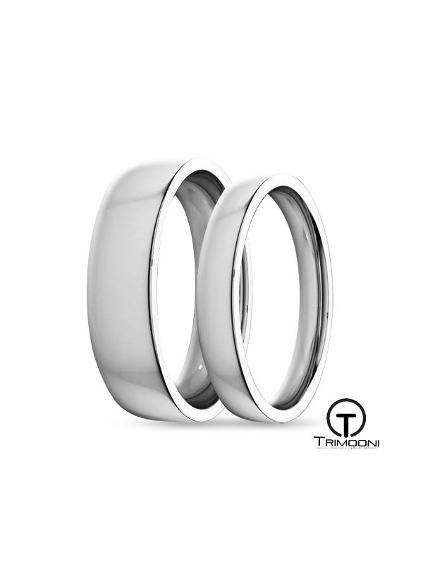 SAMOB135-  Set (pareja) de Argollas Matrimonio Oro Blanco Trimooni 3 y 5mm