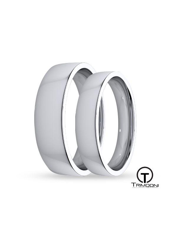 SAMOB145-  Set (pareja) de Argollas Matrimonio Oro Blanco Trimooni 4 y 5mm +Info...