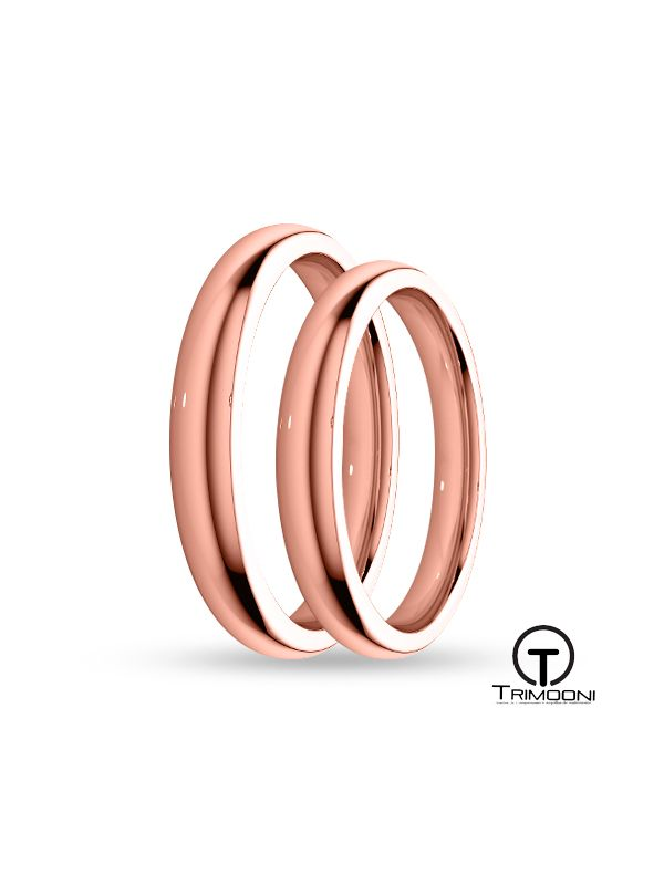 SAMOR003-  Set (pareja) de Argollas Matrimonio Oro Rosado Trimooni 3mm +Info...