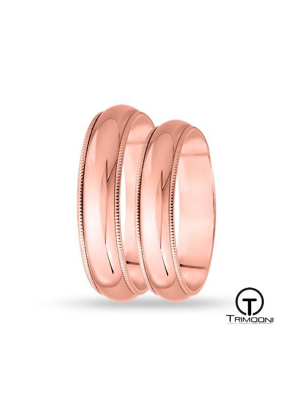 SAMOR007-  Set (pareja) de Argollas Matrimonio Oro Rosado Trimooni 5mm +Info...