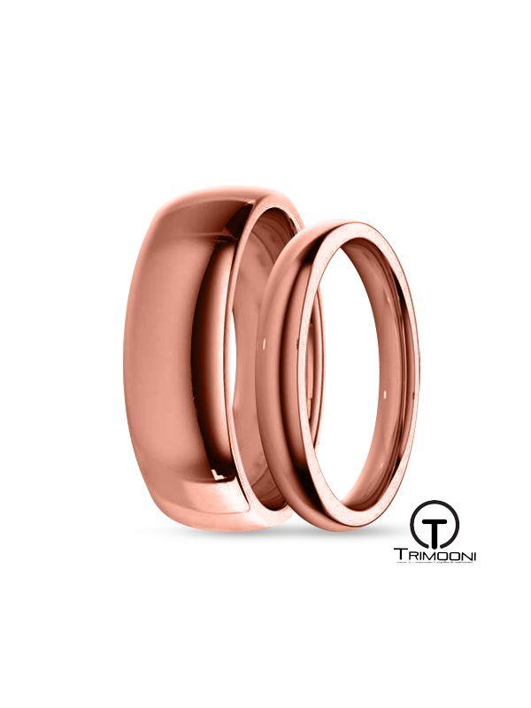 SAMOR035-  Set (pareja) de Argollas Matrimonio Oro Rosado Trimooni 3 y 5mm