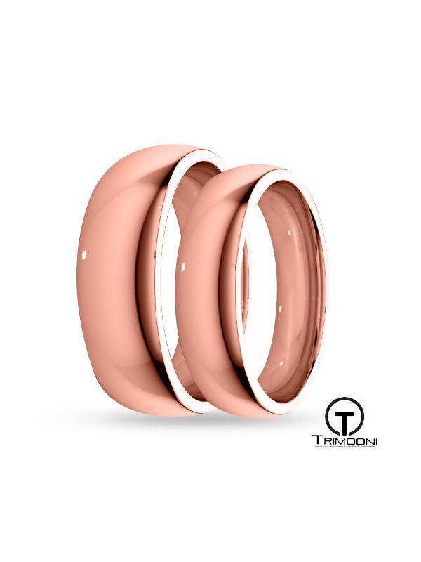 SAMOR045-  Set (pareja) de Argollas Matrimonio Oro Rosado Trimooni 4 y 5mm +Info...