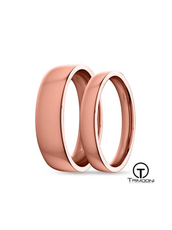 SAMOR135-  Set (pareja) de Argollas Matrimonio Oro Rosado Trimooni 3 y 5mm