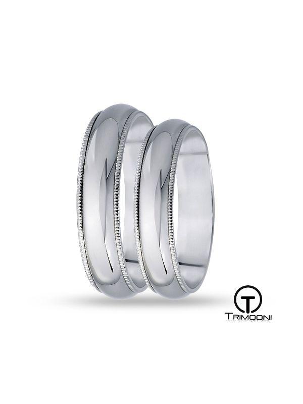 SAMPT007-  Set (pareja) de Argollas Matrimonio Platino Trimooni 5mm +Info...
