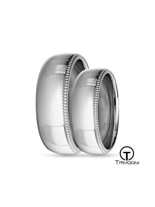 SAMPT008-  Set (pareja) de Argollas Matrimonio Platino Trimooni 6mm
