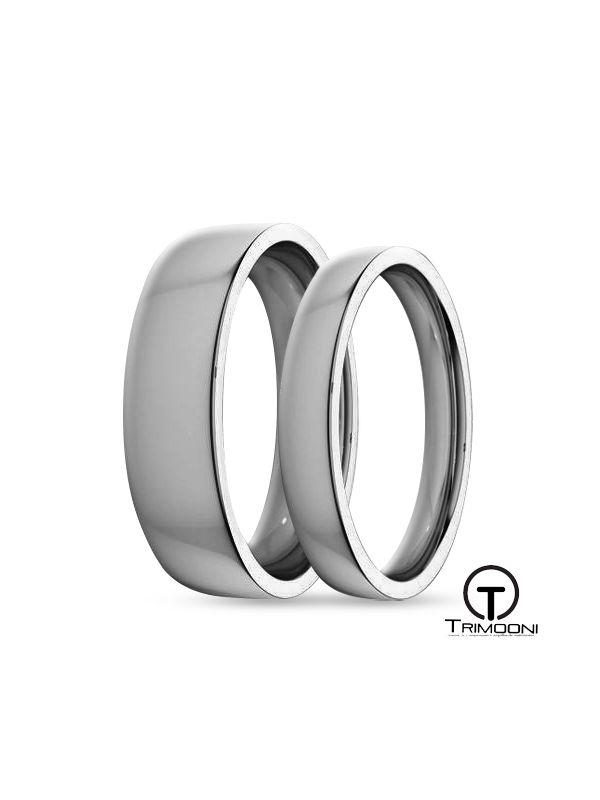 SAMPT135-  Set (pareja) de Argollas Matrimonio Platino Trimooni 3 y 5mm