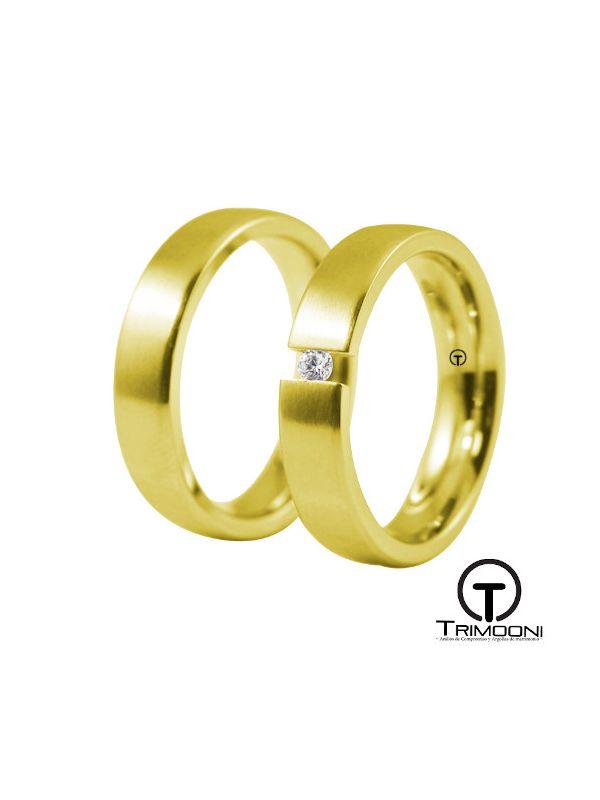 Toky_OAS-  Set (pareja) de Argollas Matrimonio Oro Amarillo Trimooni